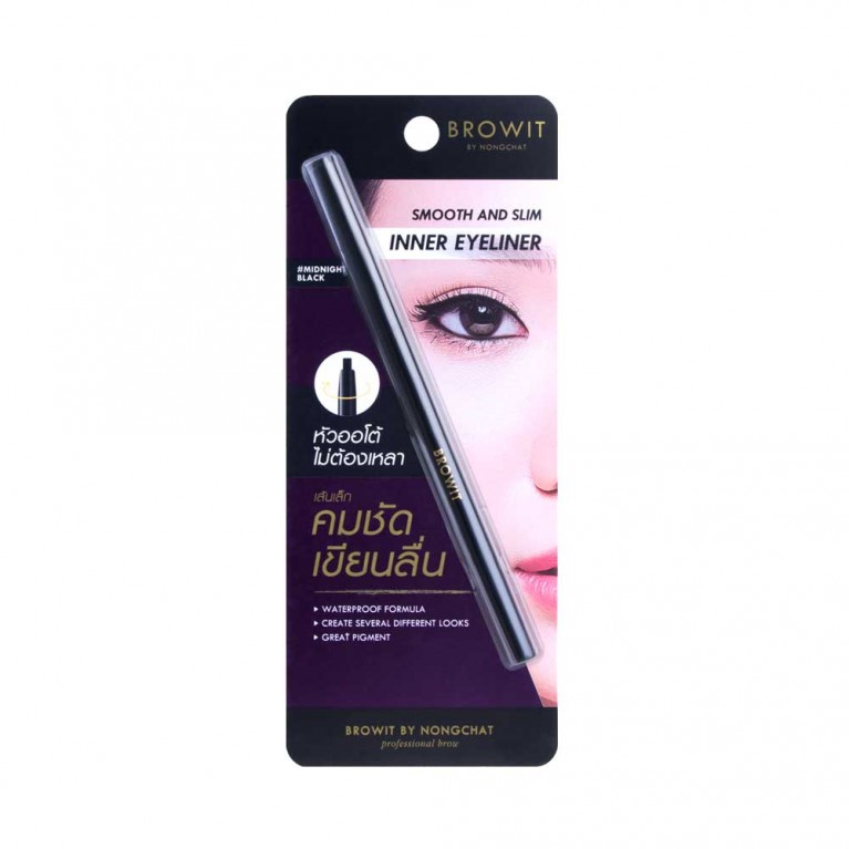 Smooth and Slim Inner Eyeliner 0.1g Browit #Midnight Black Free Bright Up Cleansing Water 30ml